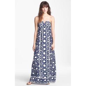 Alice & Trixie Fontaine Navy Print Silk Maxi Dress